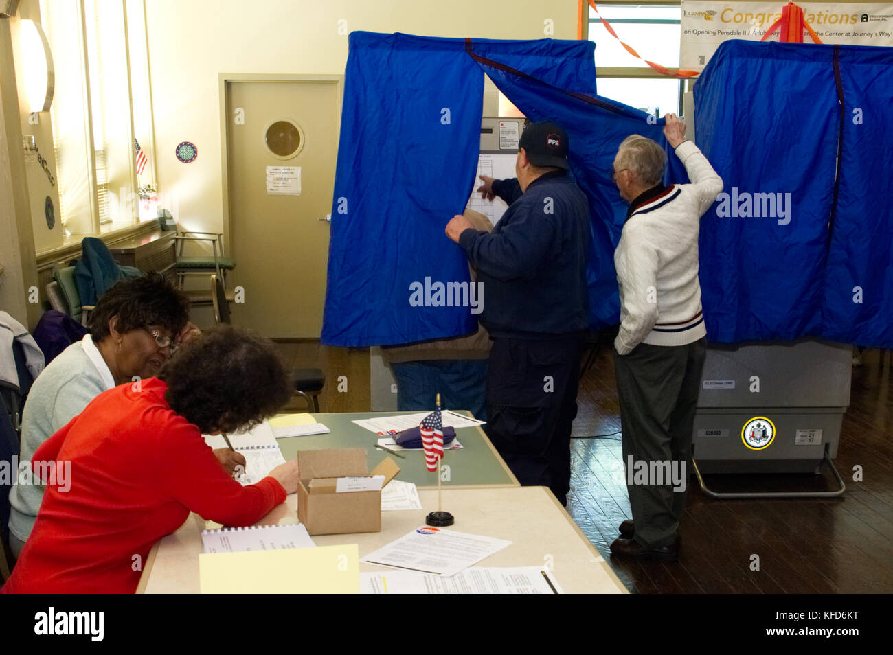 Electronic voting machines at a polling station in Philadelphia, PA. - Stock Image