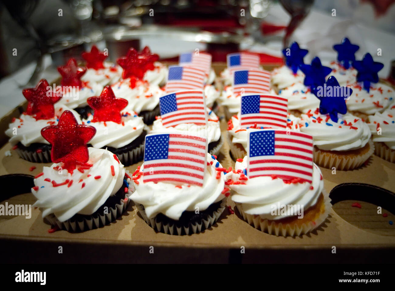 As the results of Election Day come in a tray with patriotic treats remain untouched at a post-election party. - Stock Image