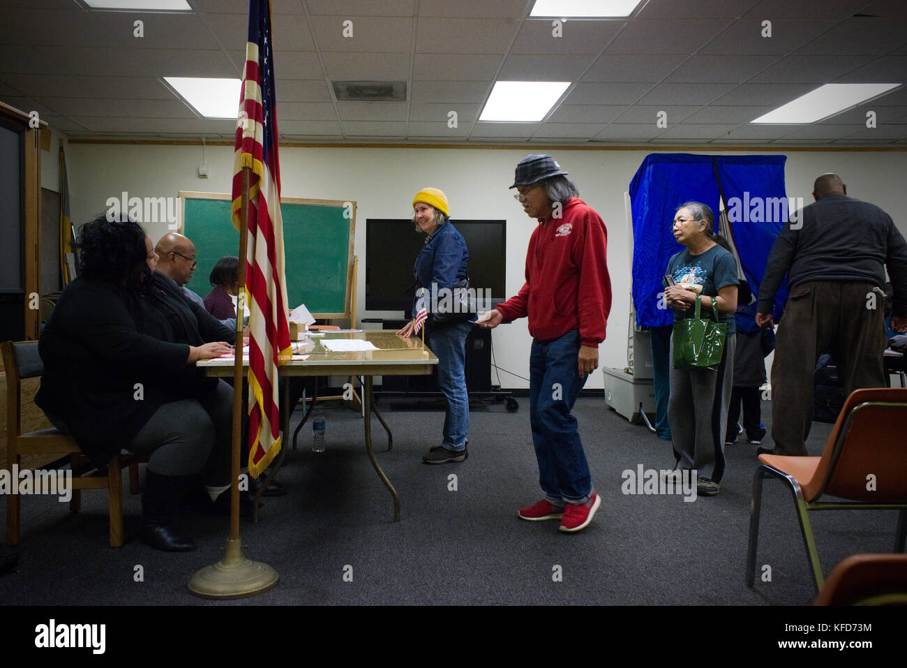 American citizens cast the ballot at a polling station on Election Day, in Philadelphia, PA. - Stock Image