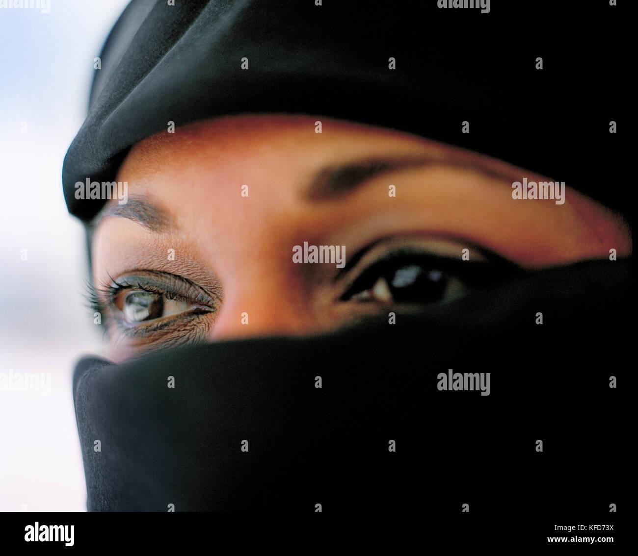 SAUDI ARABIA, Riyadh, close-up of young woman wearing hijab - Stock Image