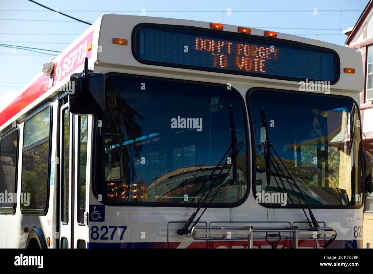 The led display on a SEPTA bus reminds citizens to vote in the 2016 General Elections, in Philadelphia, PA. - Stock Image