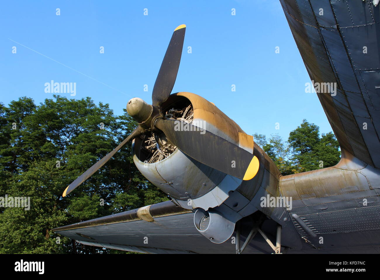 Rotary engine of Douglas Dakota DC-3 C-47 WWII plane exhibit situated in local forest and available for visiting - Stock Image