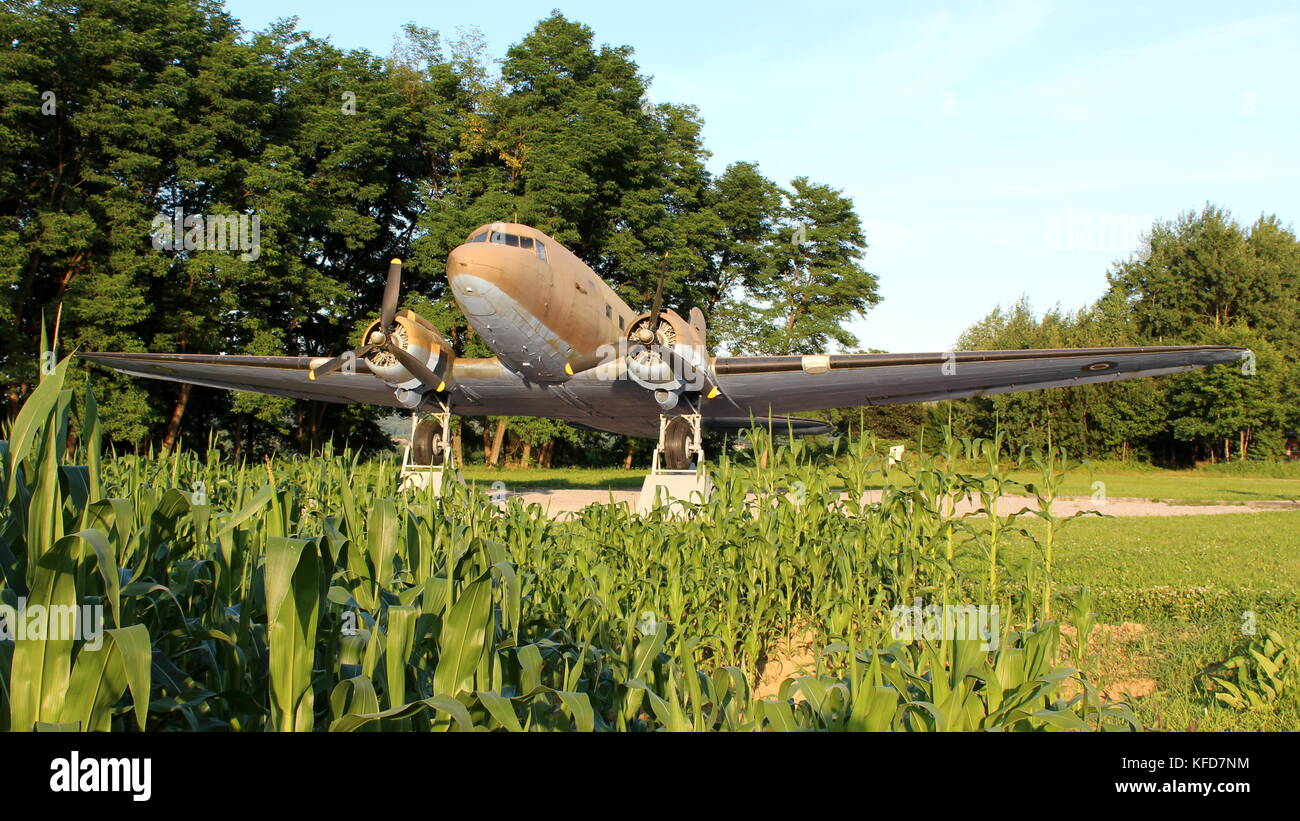 Front view of Douglas Dakota DC-3 C-47 WWII plane situated in local forest as exhibit, fully restored and available - Stock Image