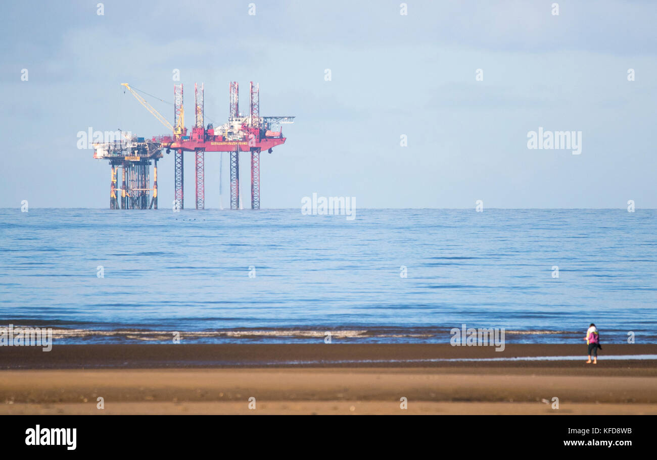 Morecambe Bay oil rig on the north west coast of England - Stock Image