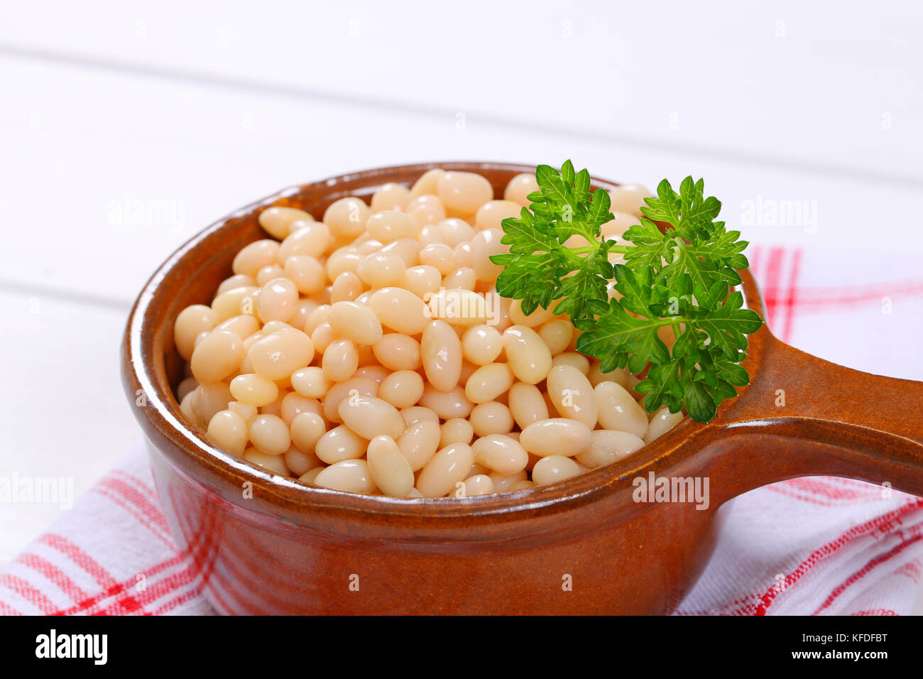 saucepan of canned white beans on checkered dishtowel - close up - Stock Image