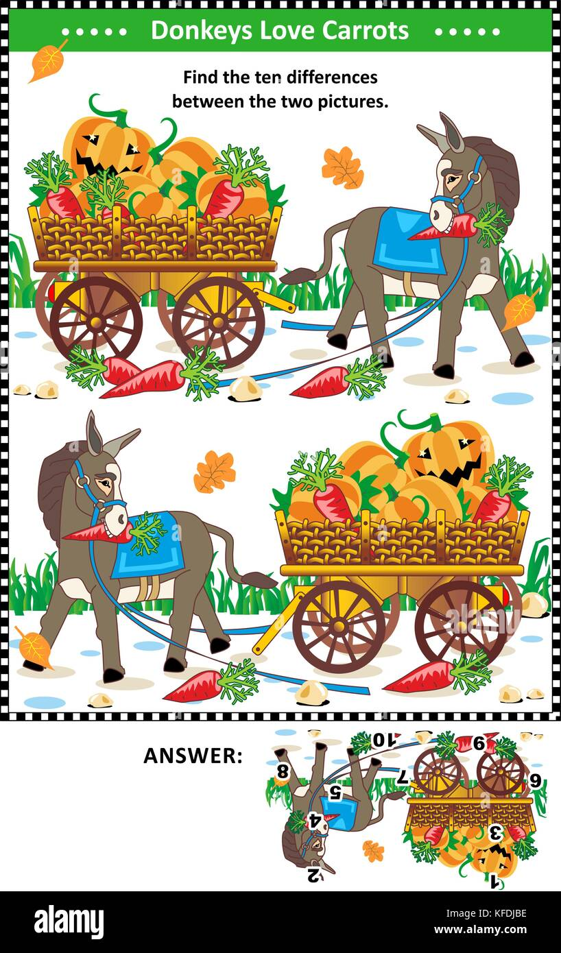 Visual puzzle: Find the ten differences between the two mirrored pictures with donkey and wagon full of pumpkins - Stock Image