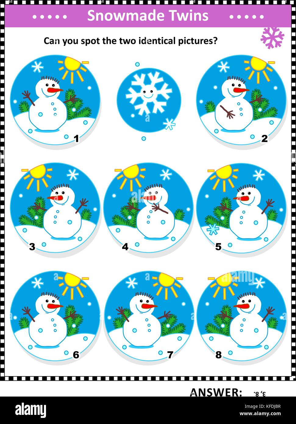 Winter, Christmas or New Year themed visual puzzle with snowmen: Can you spot the two identical pictures? Answer - Stock Image