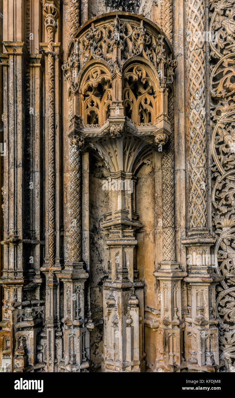 Intricate stone carvings on the walls of the Unfinished Chapels in the 14th century Batalha Monastery in Batalha, - Stock Image