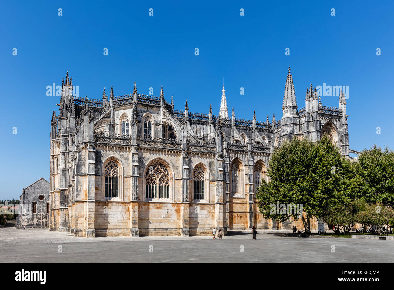 Medieval Batalha Monastery in Batalha, Portugal, a prime example of Portuguese Gothic architecture, UNESCO World - Stock Image