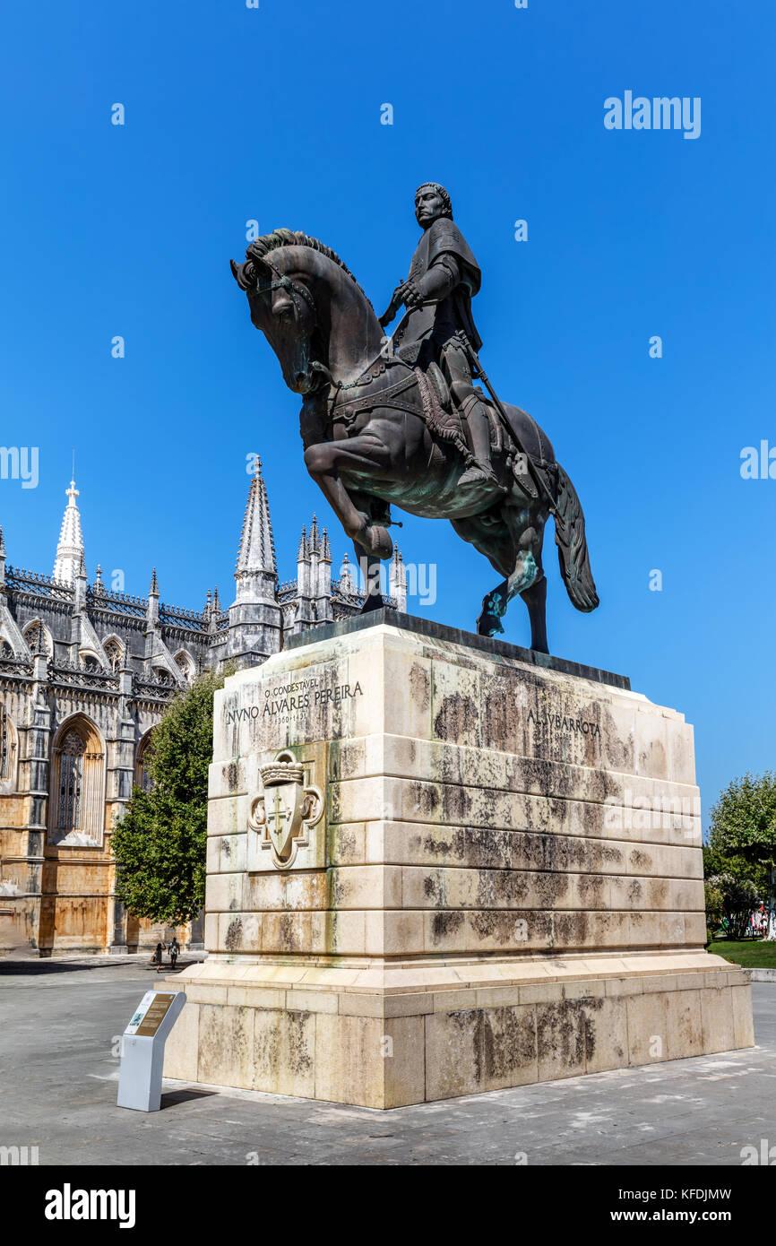 Equestrian statue of General Nuno Alvares Pereira in Batalha, Portugal - Stock Image
