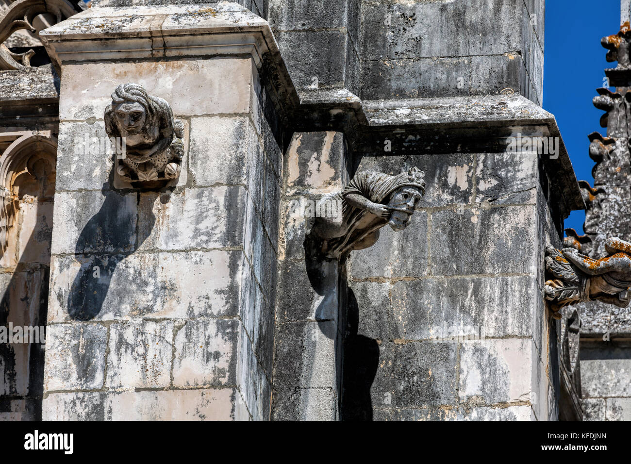 Gargoyles on the facade of the 14th century Batalha Monastery in Batalha, Portugal, a prime example of Portuguese - Stock Image