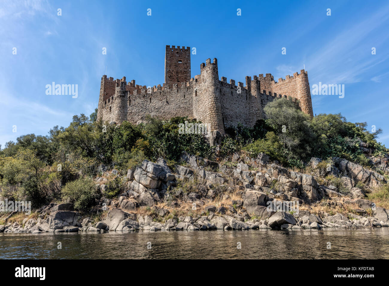 Castle of Almourol in Portugal, initiated the 12th century, located on a small islet in the middle of the Tagus - Stock Image