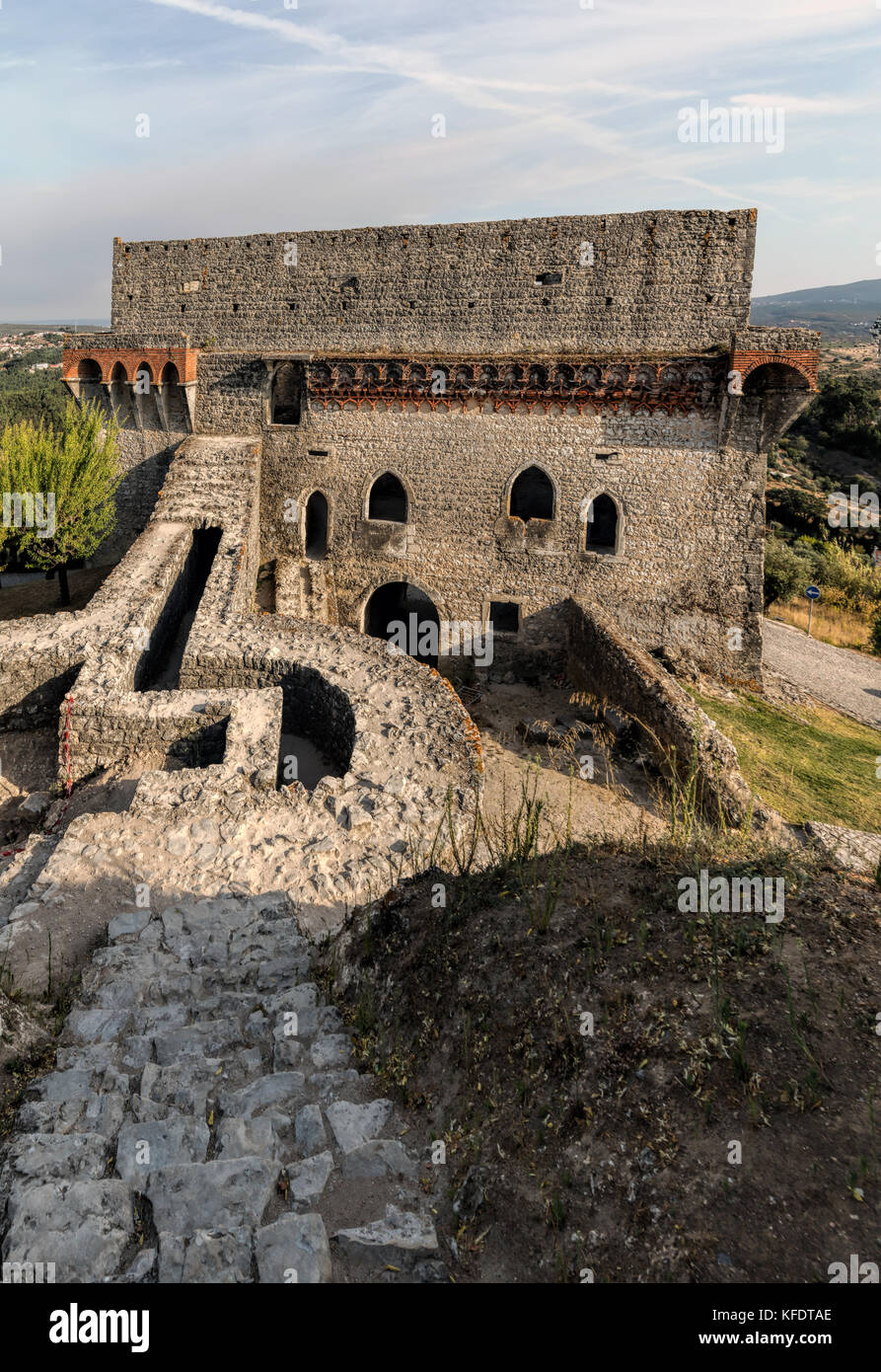 Medieval Castle of Ourem, served as watch-post for the Castle of Leiria during the Portuguese Reconquista in the - Stock Image