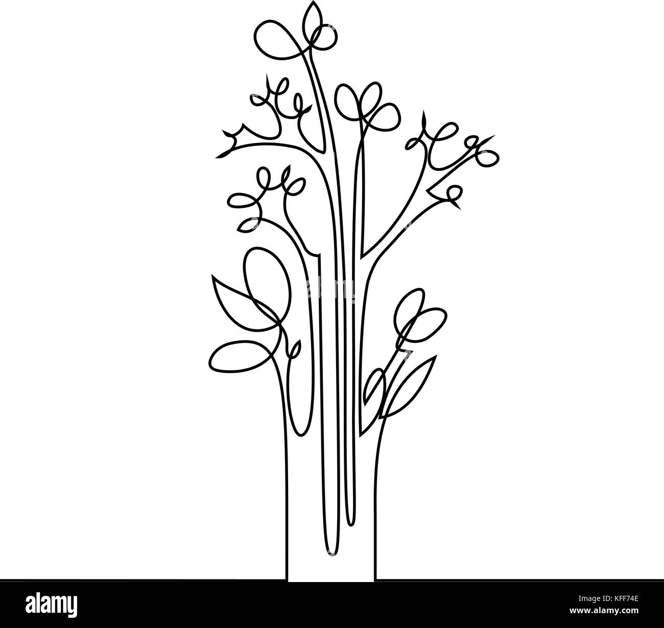 Continuous Line Drawing Flower : Happy birthday vector vectors black and white stock photos