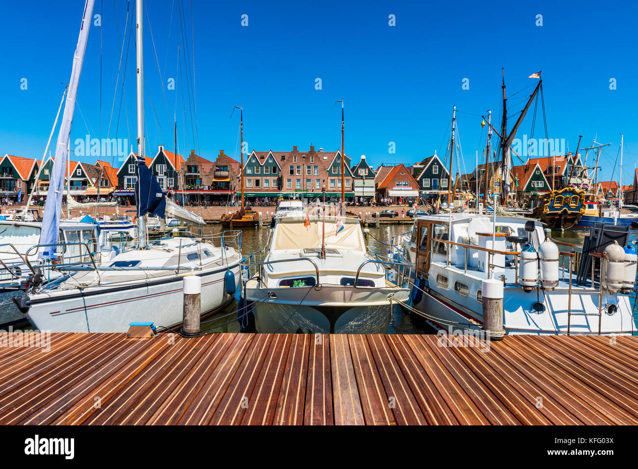 View on Volendam and its marina, The Netherlands. Volendam is a fishing village and popular tourist attraction in - Stock Image