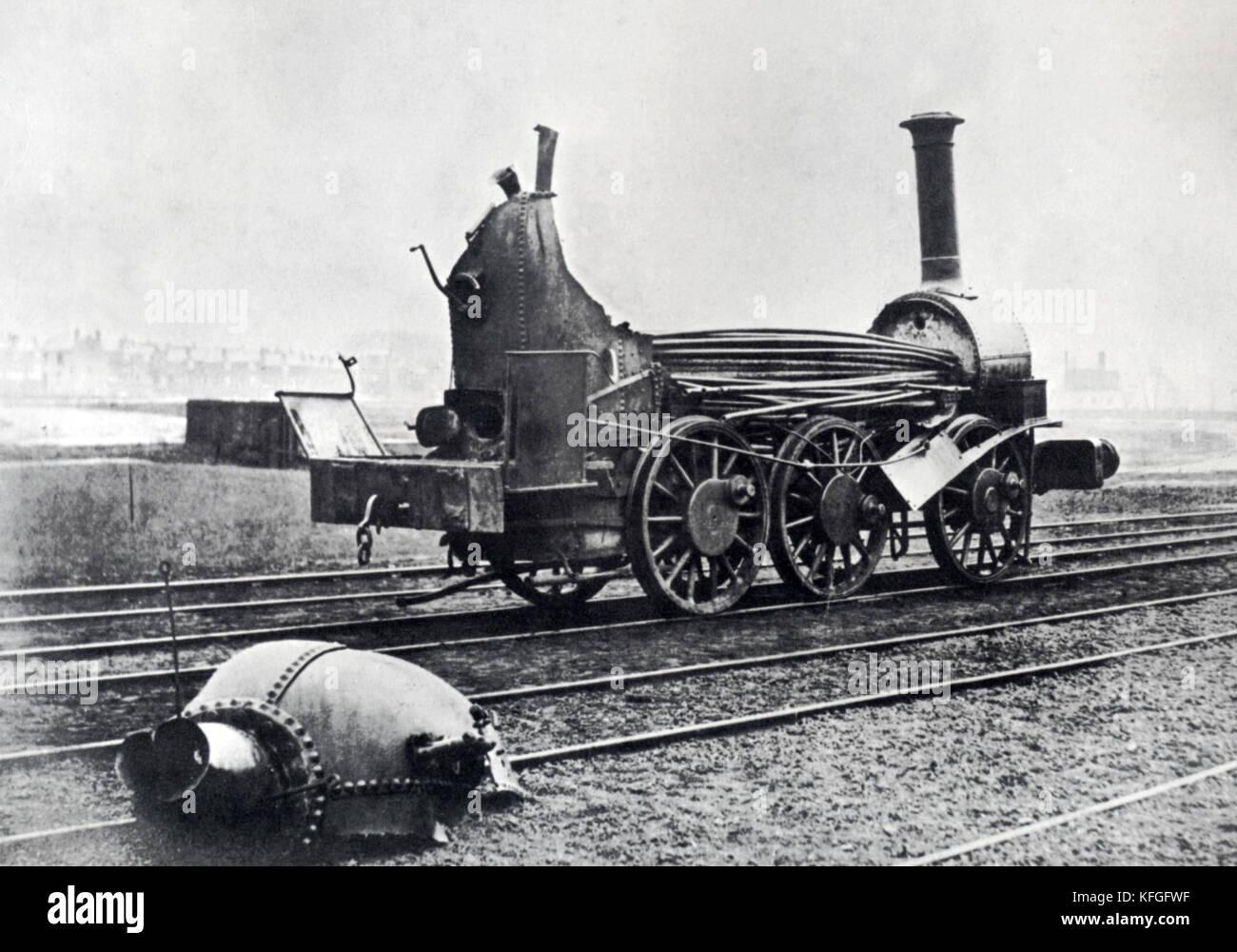 Steam locomotive boiler explosion, 1850 - Stock Image