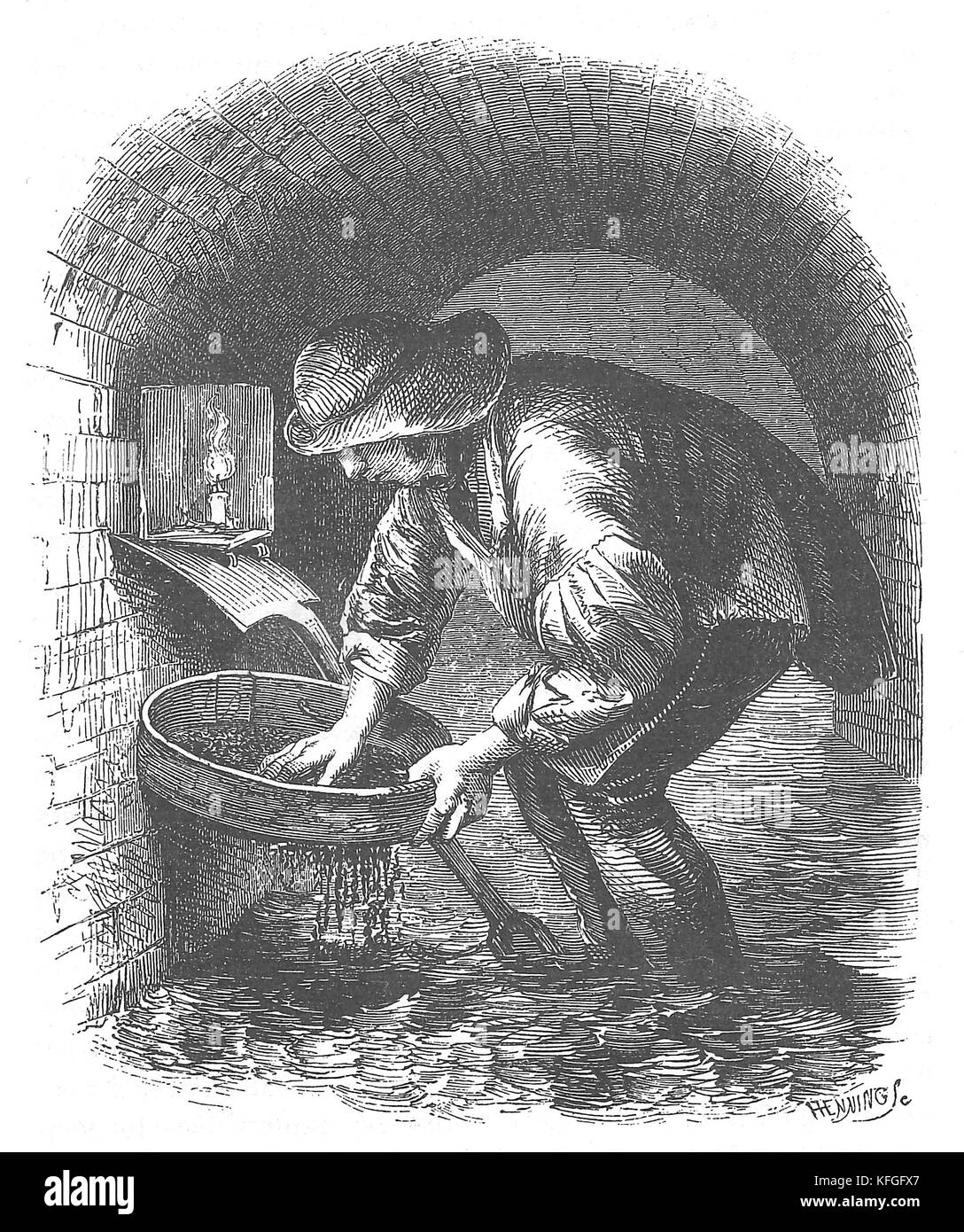 Kosher or sewer hunter, An 1851 illustration of a sewer-hunter or 'tosher.' who scavenges in the sewers, - Stock Image