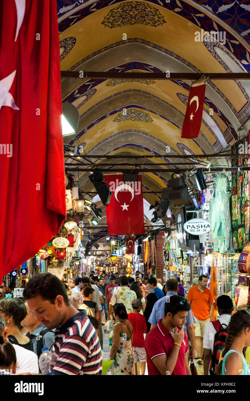 Shoppers inside the Grand Bazaar in Istanbul, Turkey. - Stock Image
