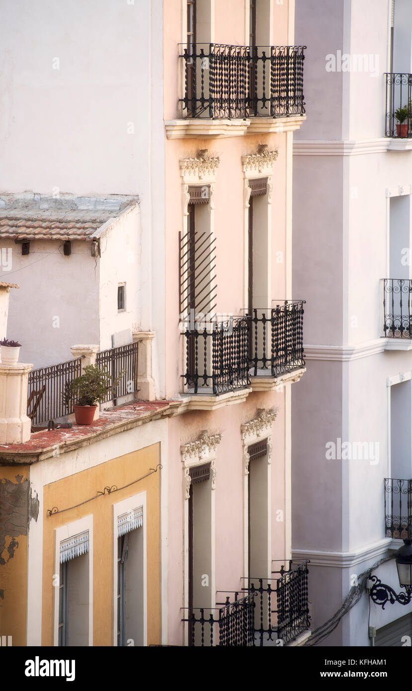 Exterior view of apartment buildings in Alicante, Spain - Stock Image