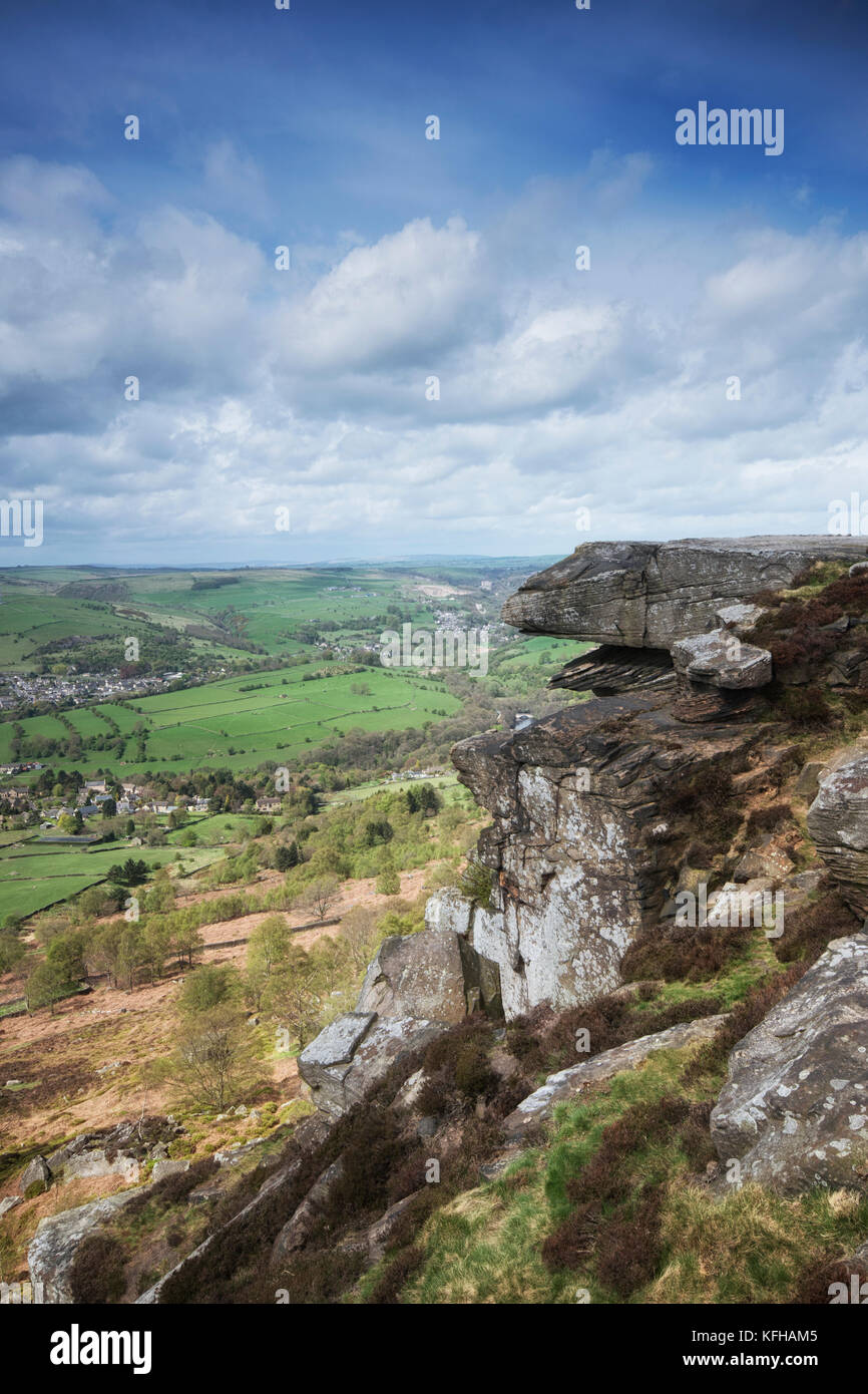 View from Curbar Edge in the Peak District National Park, Derbyshire, England, UK - Stock Image
