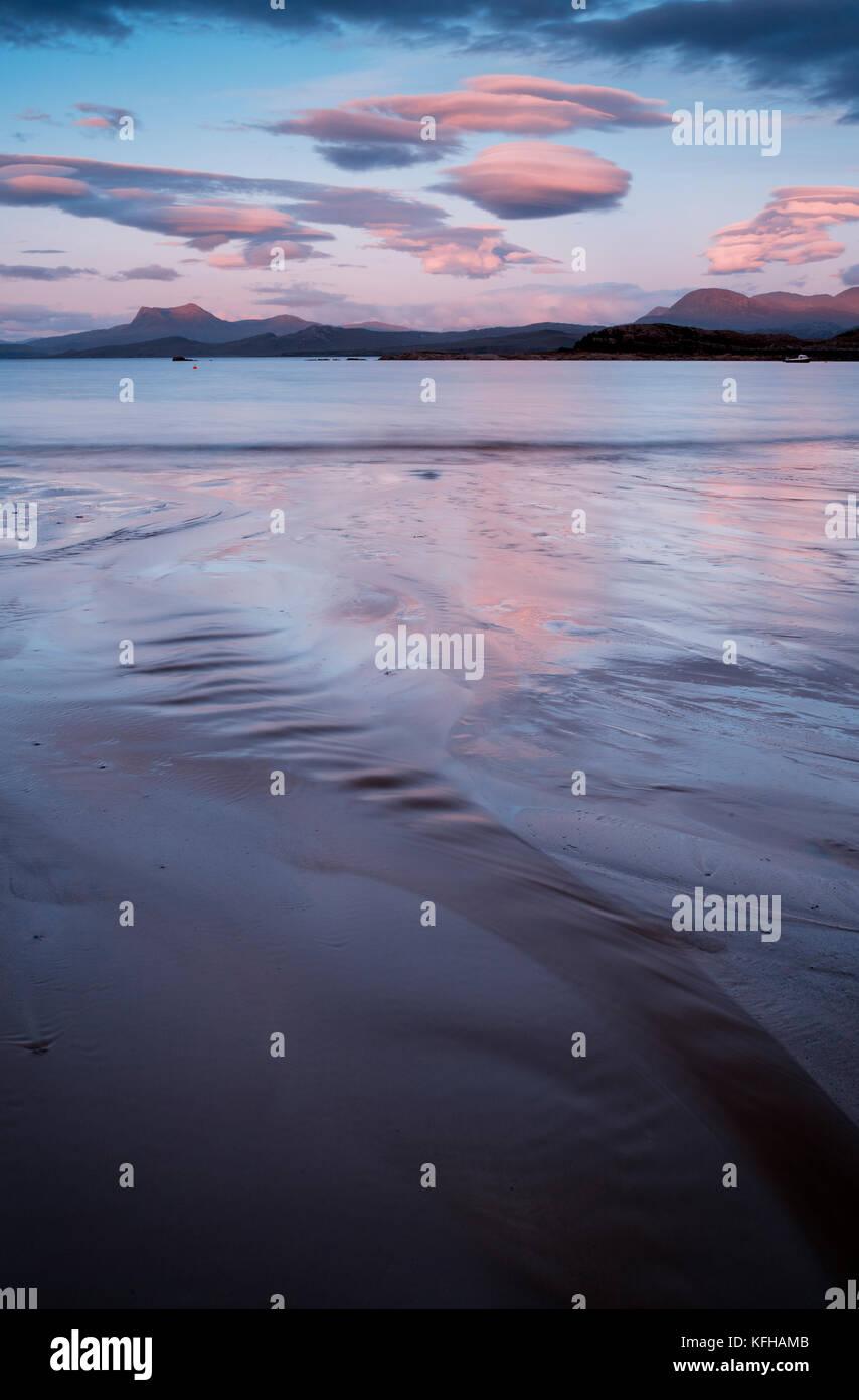 Sunset at Mellon Udrigle beach, Wester Ross, Scotland - Stock Image
