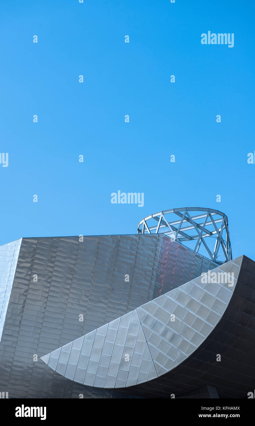 Architectural detail of the the Lowry Theatre at Salford Quays in Manchester, England - Stock Image