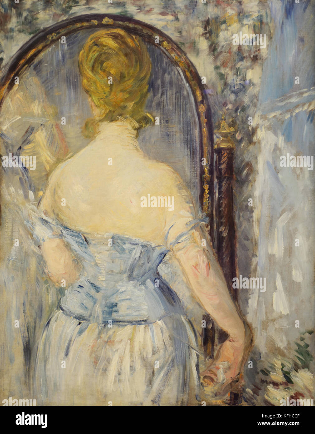 Before the Mirror, 1876, painting by Edouard Manet - Stock Image