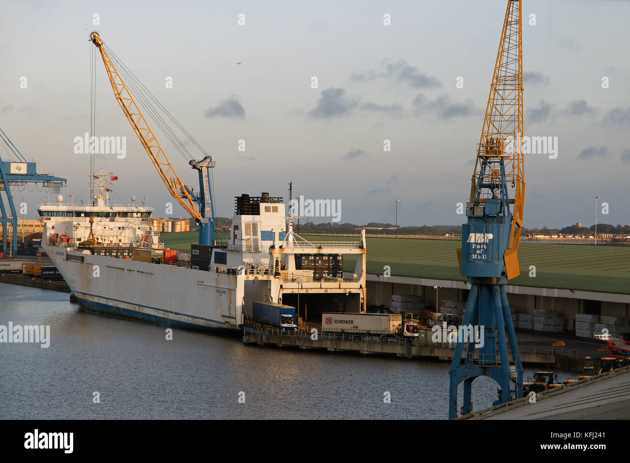 Container lorries disembark from the Ro Ro cargo ship Finncarrier in the Port of Hull, Humberside - Stock Image