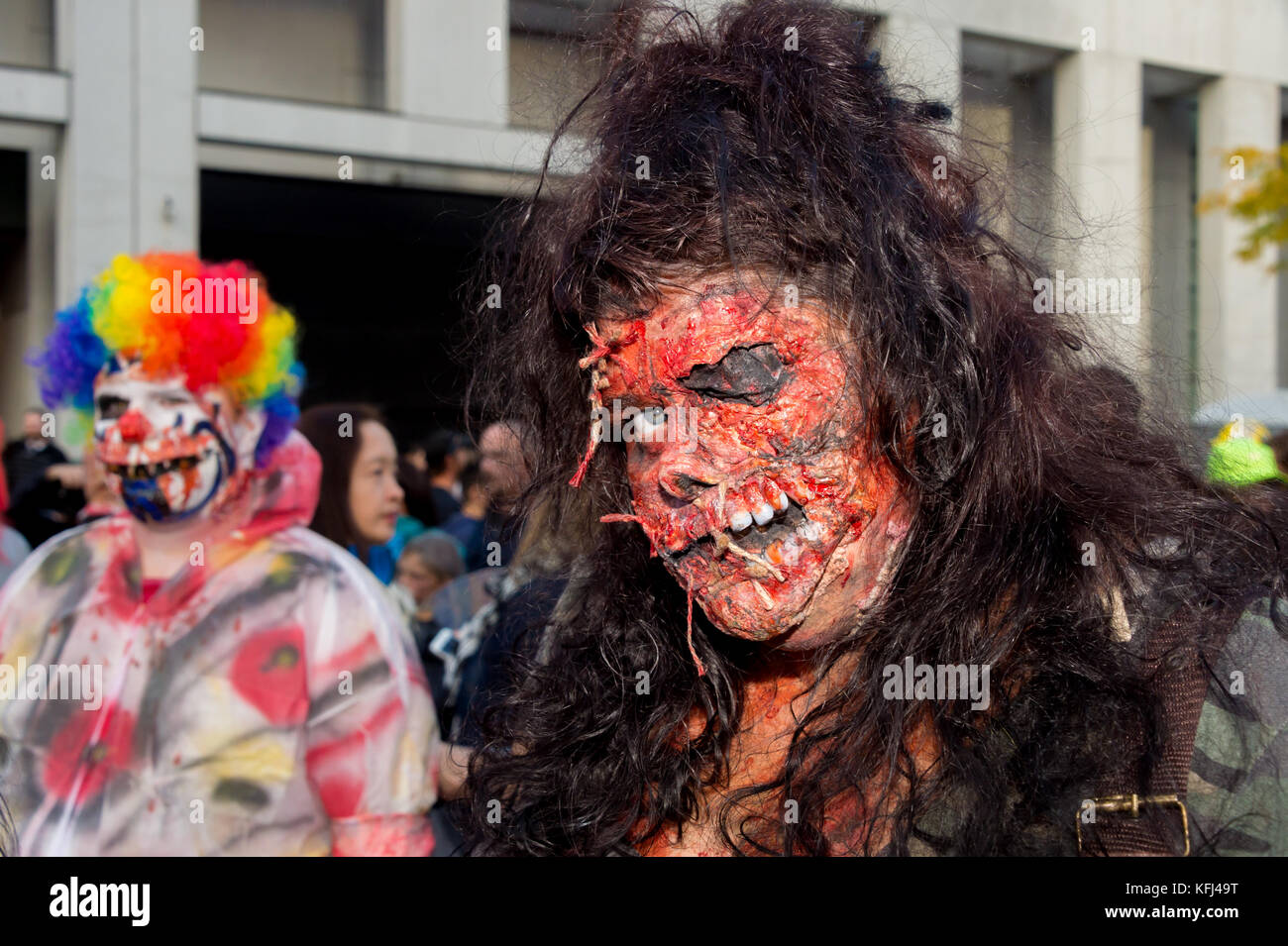 Montreal, Canada - October 28, 2017: People taking part in the Zombie Walk in Montreal Downtown - Stock Image