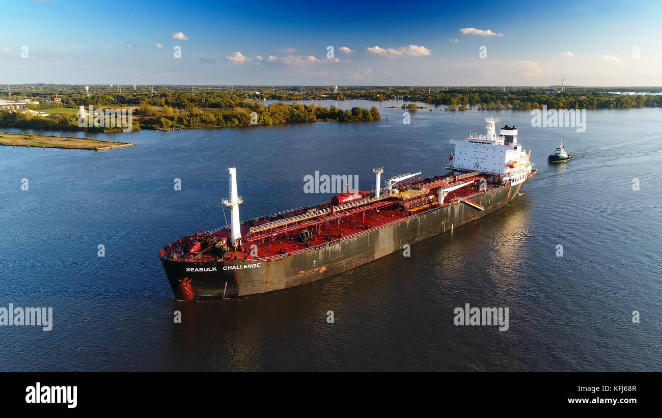 Oil Chemical Tanker on River - Stock Image