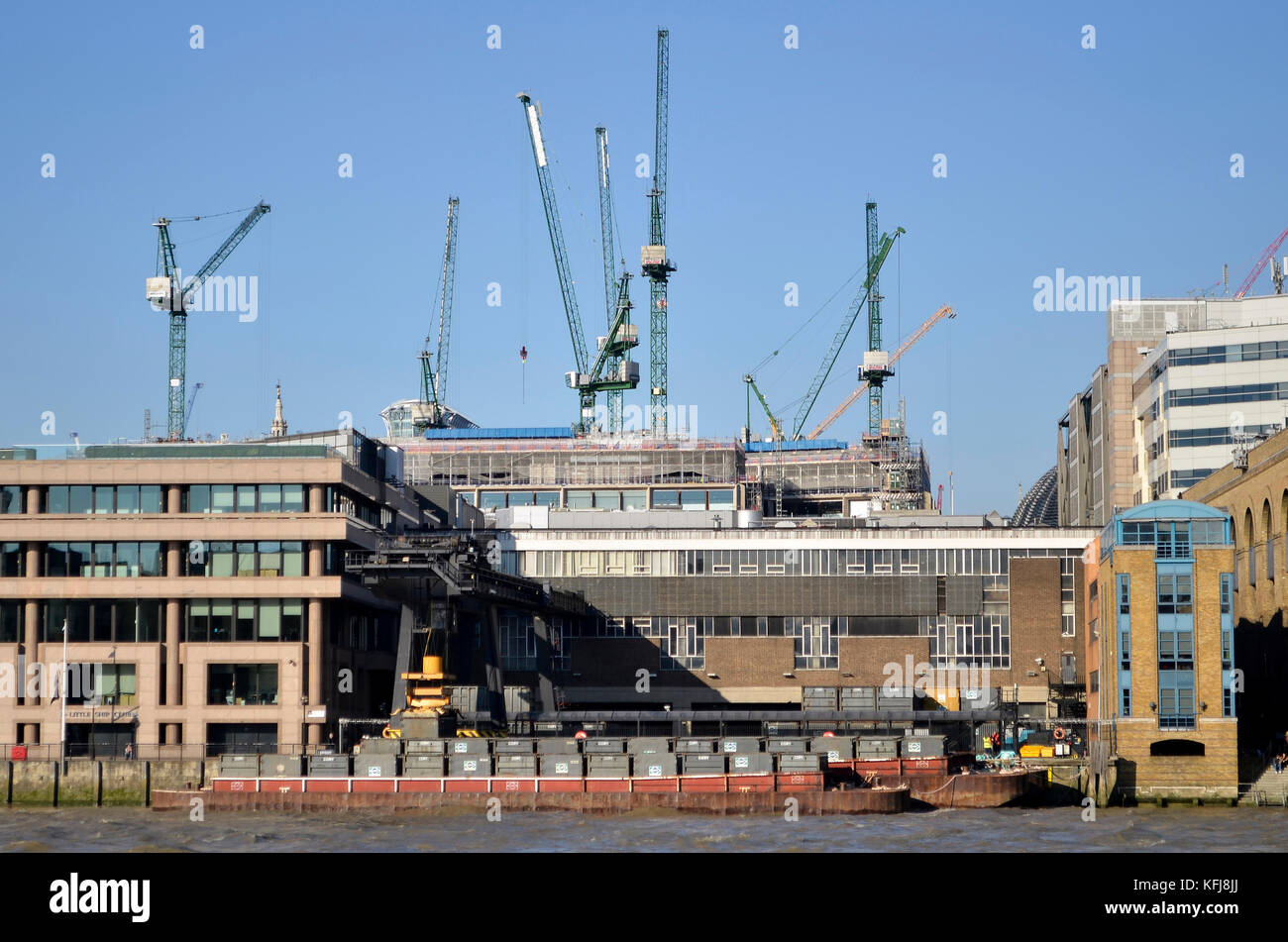 Cory Environmental waste management container site and barges at Walbrook Wharf, Upper Thames Street, London. Bloomberg - Stock Image