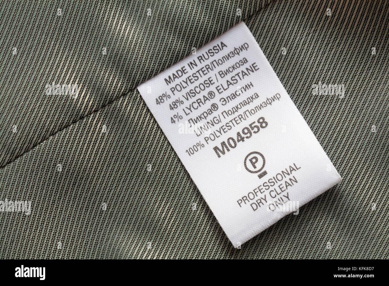 Jacket Clothing Symbols Washing Care Instructions Lining