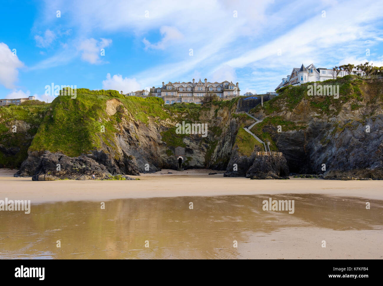 Hotel Victoria, Newquay, Cornwall, England, Great Britain - Stock Image
