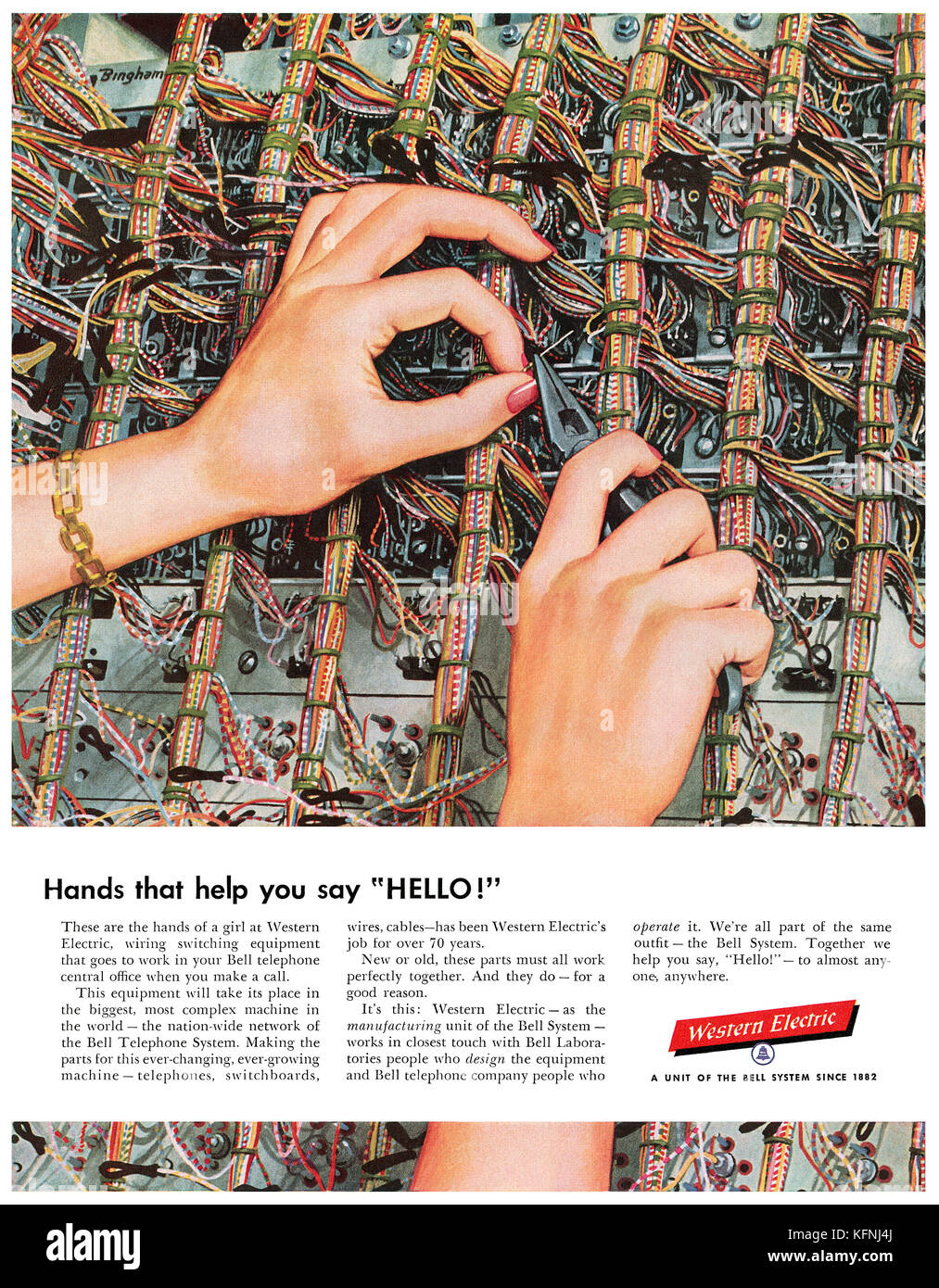 1954 U.S. advertisement for Bell telephone's Western Electric division. - Stock Image