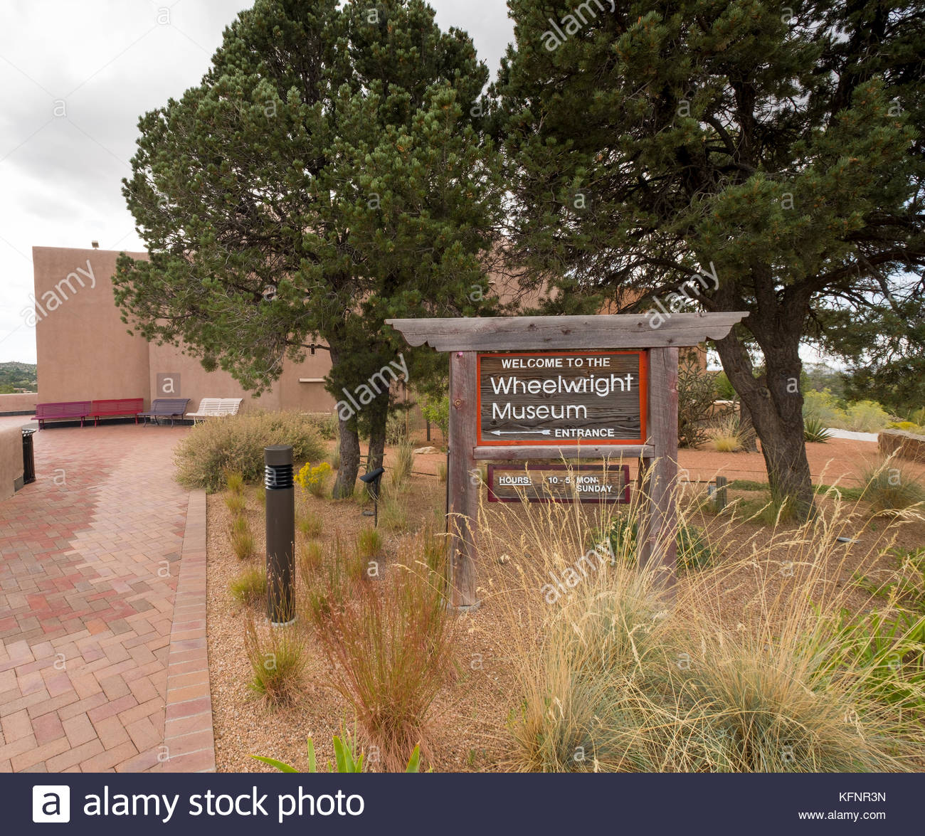 Sign at entrance to the Wheelwright Museum, Santa Fe, Santa Fe County, New Mexico, USA - Stock Image