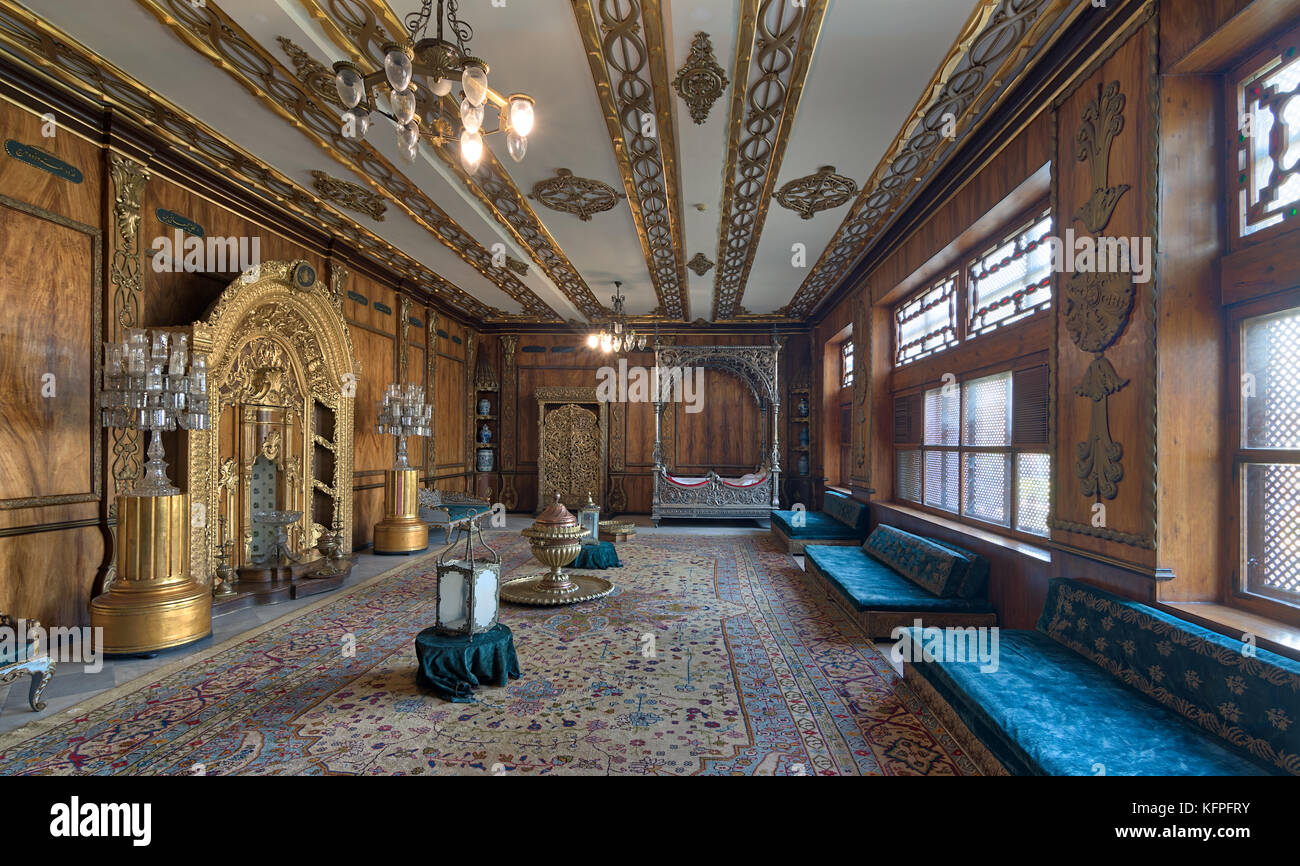 Cairo, Egypt - October 21, 2017: Manial Palace of Prince Mohammed Ali Tawfik. Residence of prince's mother with - Stock Image