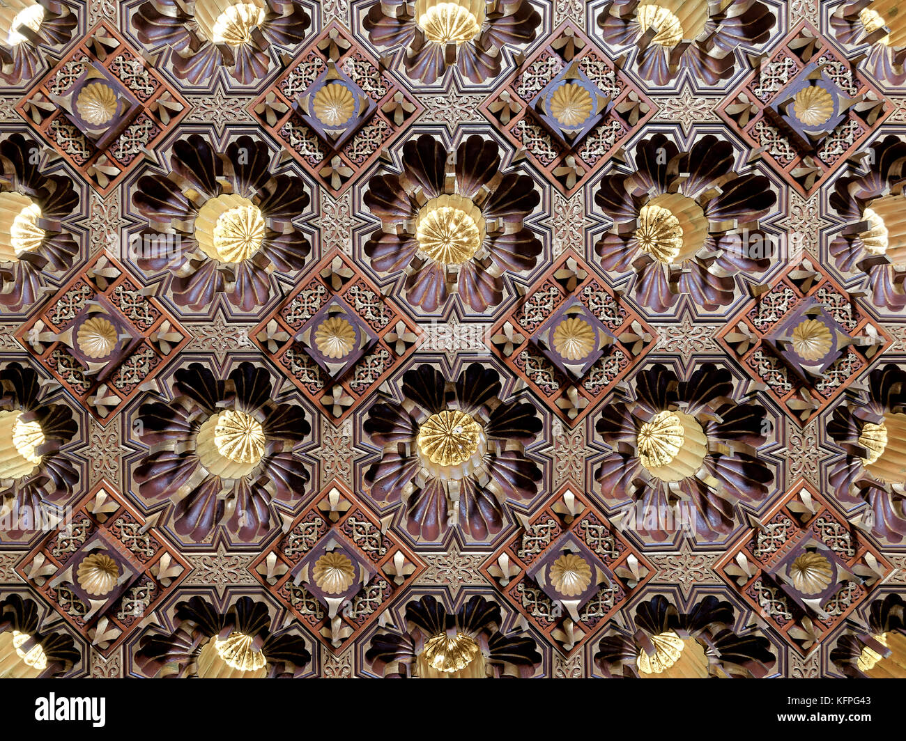 Wooden golden ceiling at the public mosque of Manial Palace of Prince Mohammed Ali Tawfik, Cairo, Egypt - Stock Image