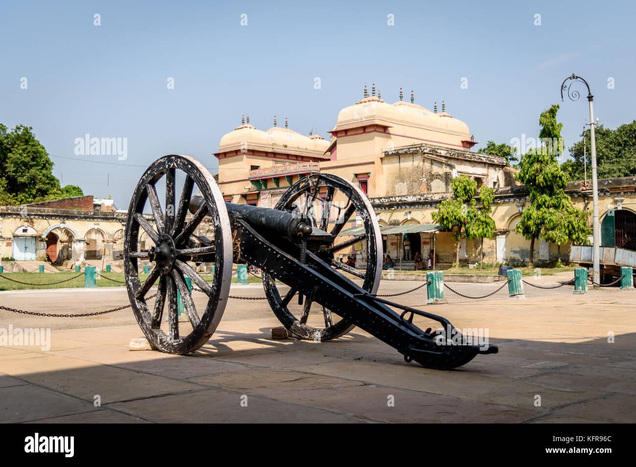 October 14,2017.Varanasi, India,  An Ancient canon on the courtyard at Ramnagar Fort, Varanasi India. - Stock Image