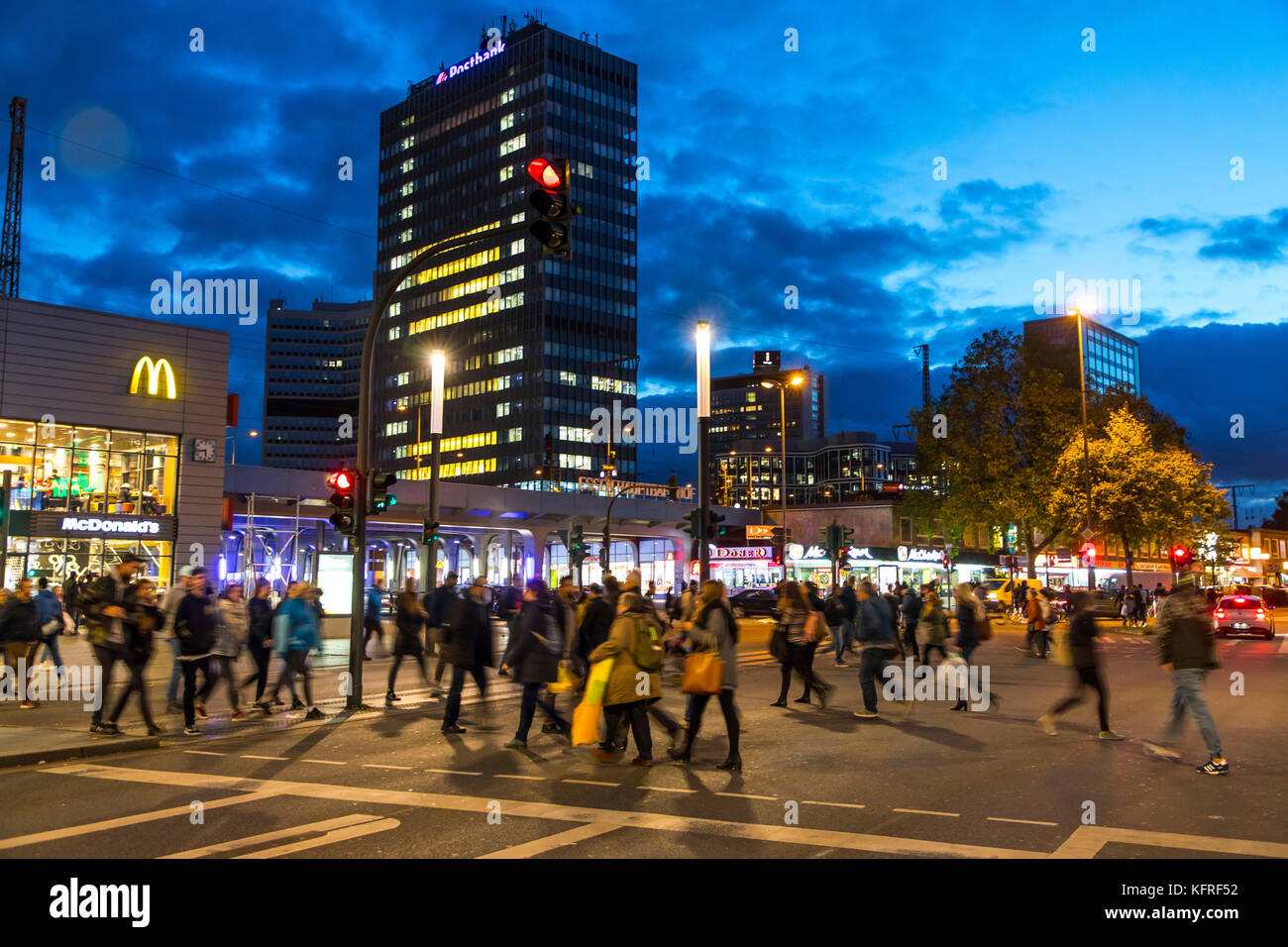 Downtown Essen, Germany, at the central station, skyline of the office towers, downtown, business district, - Stock Image