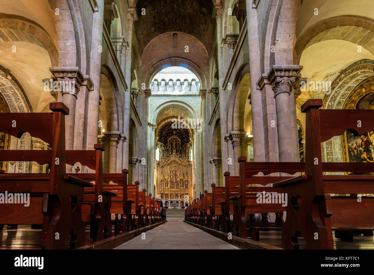 Interior of the Old Cathedral of Coimbra, a.k.a. Se Velha, a Romanesque Roman Catholic building, started in 12th - Stock Image