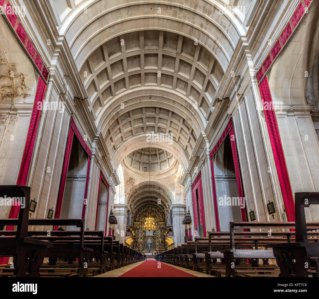 Interior of the New Cathedral of Coimbra, Portugal, previously the church of the Jesuit Formation house of Coimbra - Stock Image