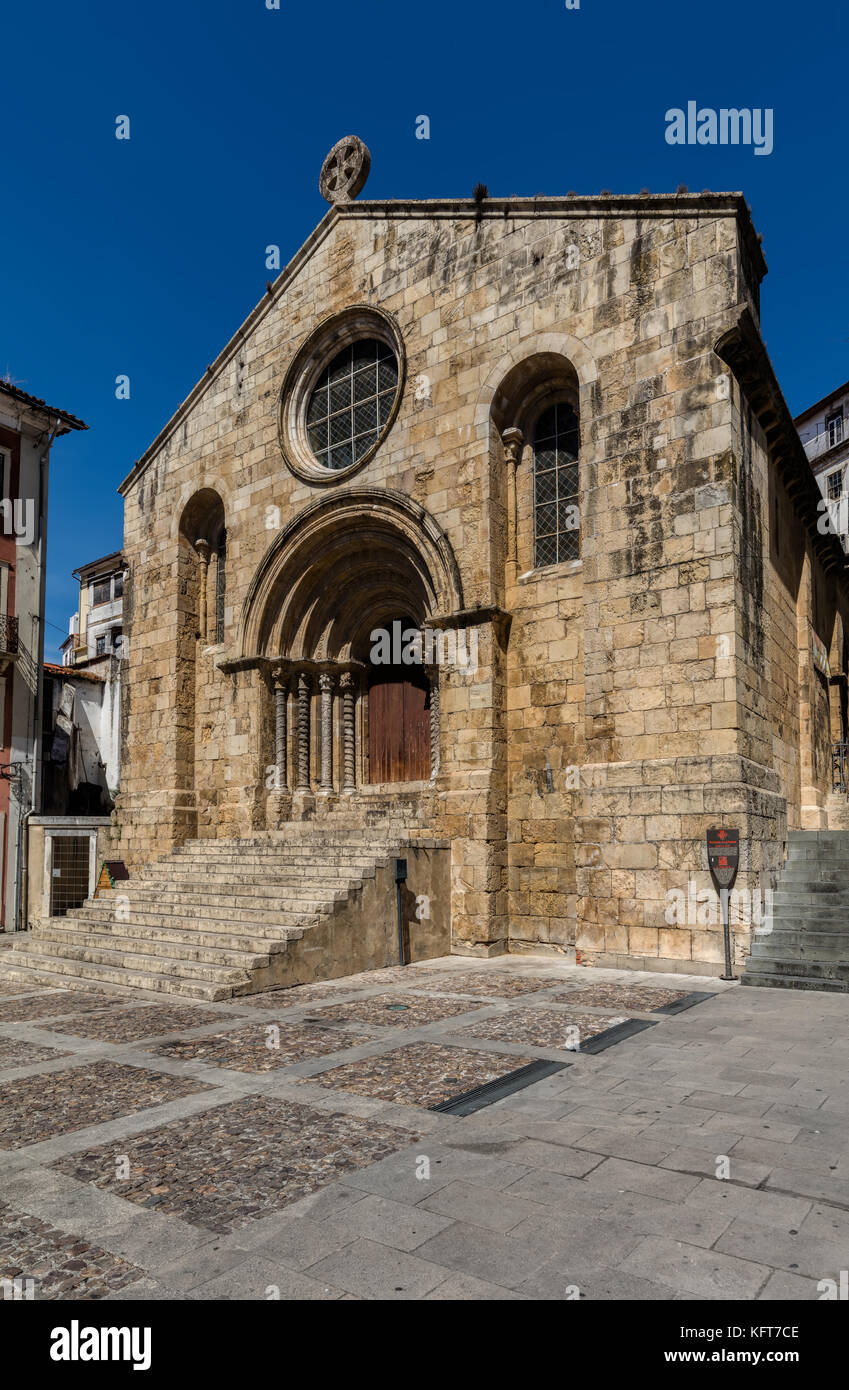 Church of Santiago in Coimbra, Portugal, consecrated in 1206, one of the main Romanesque style monuments in the - Stock Image