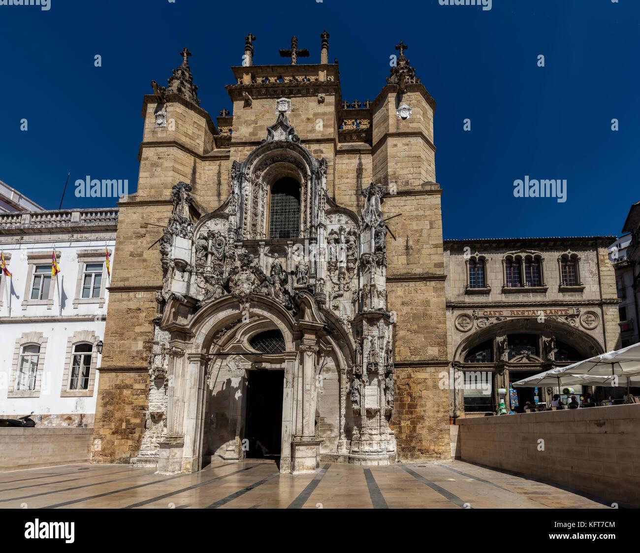 Santa Cruz Monastery in Coimbra, Portugal, founded in 1131 - Stock Image
