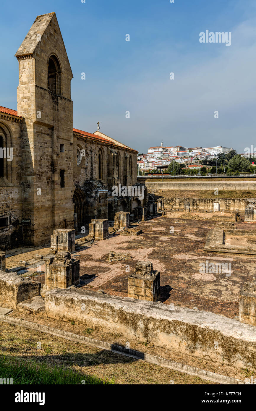 Ruins of the 14th century Monastery of Santa Clara-a-Velha (Old St. Clare) in Coimbra, Portugal - Stock Image
