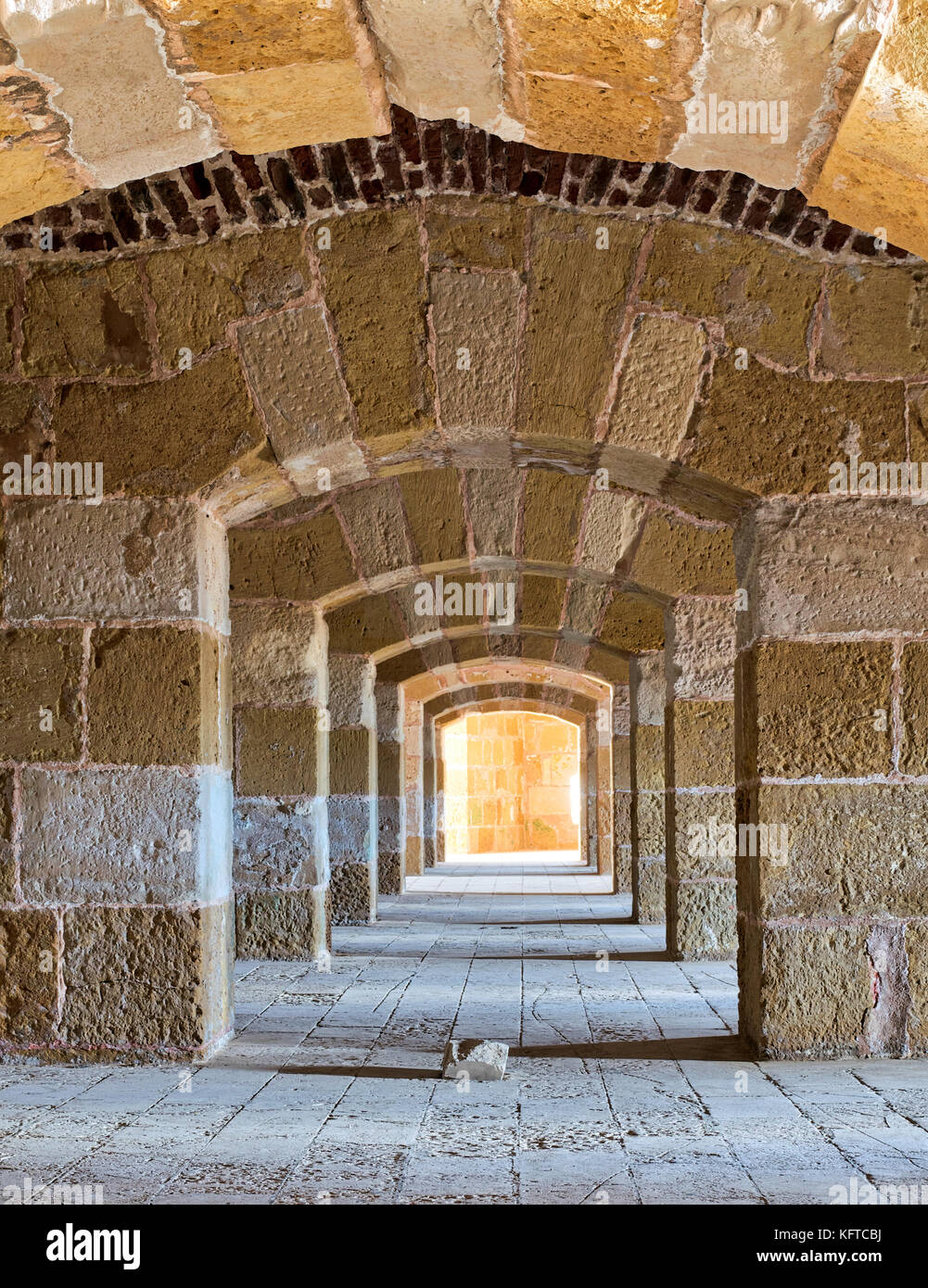 Stoned arched Passage under Kayet Bey Castle, Alexandria, Egypt - Stock Image