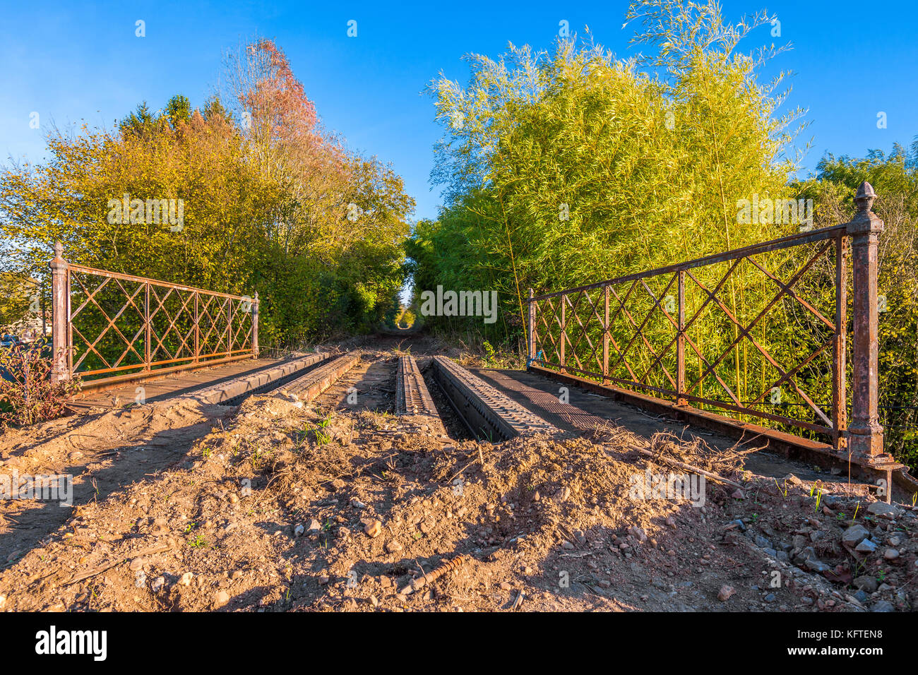 Steel girder bridge remaining on disused / removed railway line - France. - Stock Image