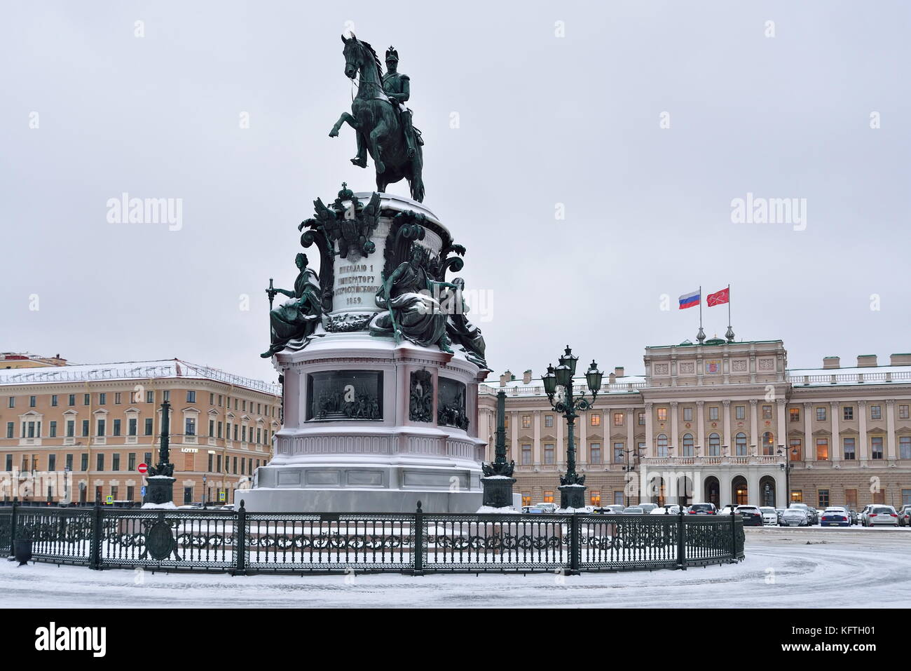SAINT PETERSBURG, RUSSIA - 12 JANUARY 2017: Monument to Nicholas 1 St. Isaac's square in winter - Stock Image