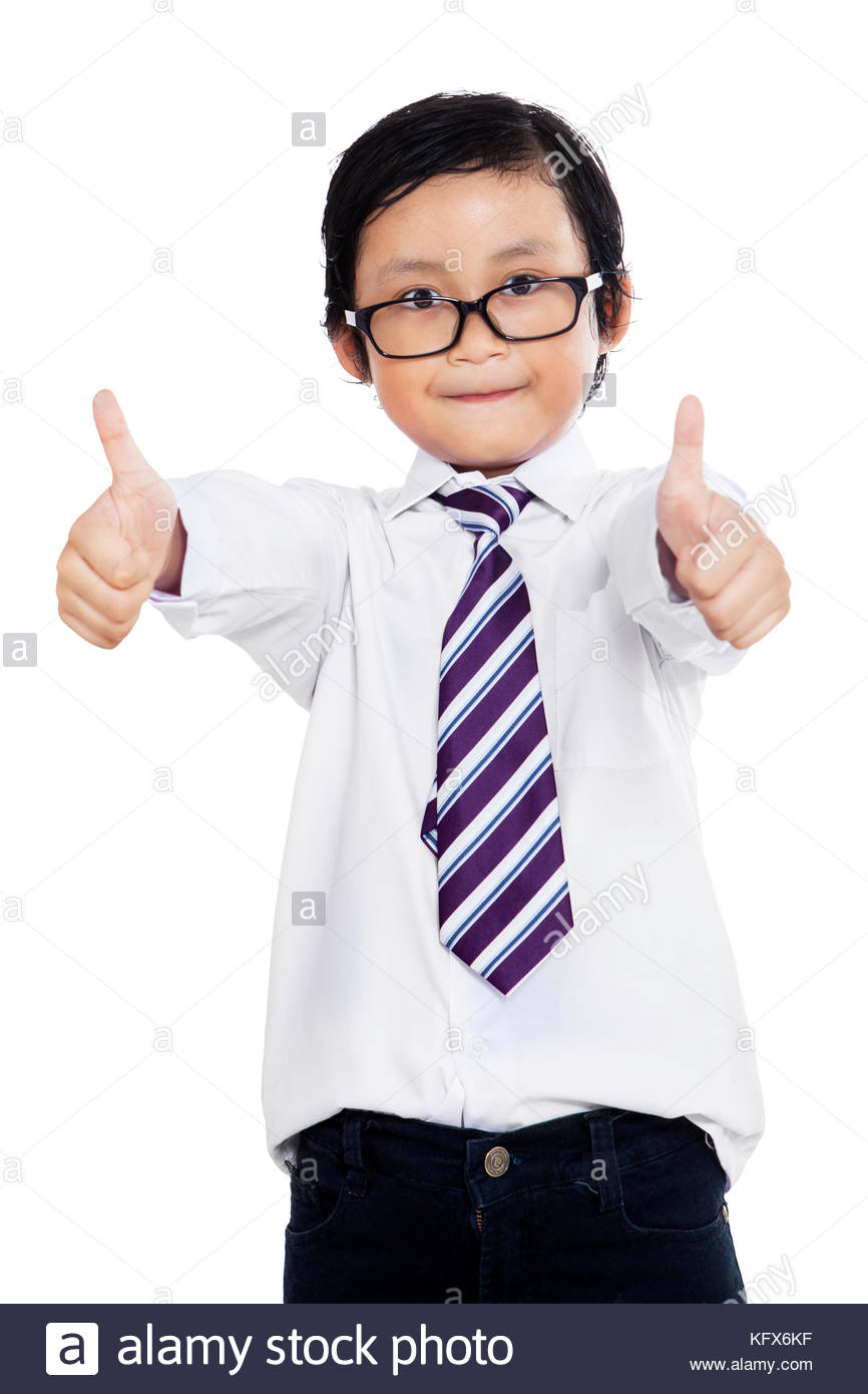 The little boy in a suit of the businessman shows gestures by hands - Stock Image