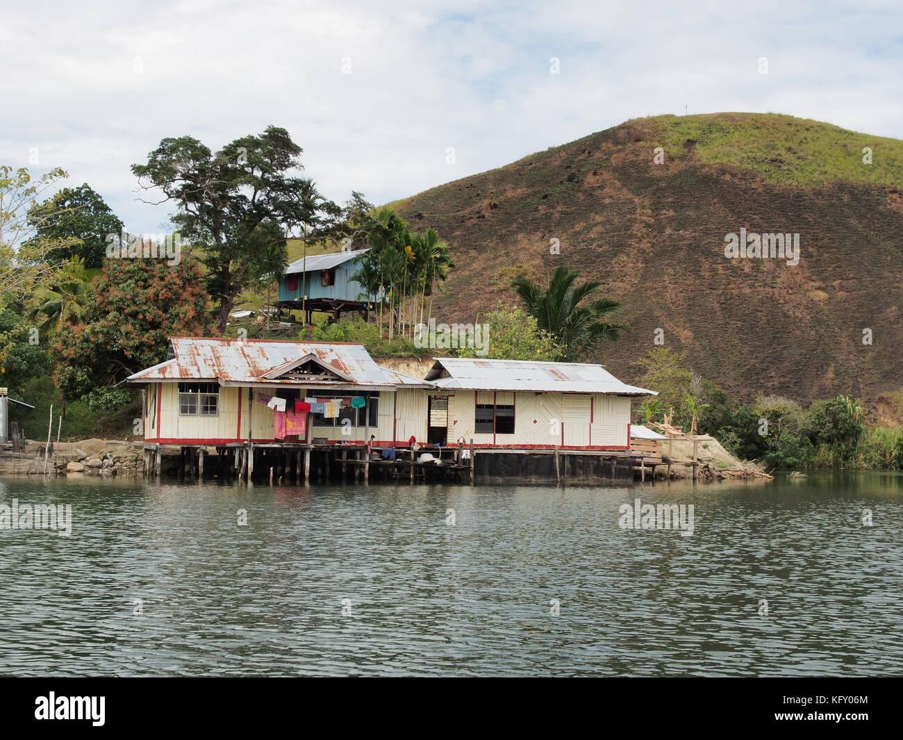 Stilt house on Lake Sentani in West Papua, Indonesia - Stock Image