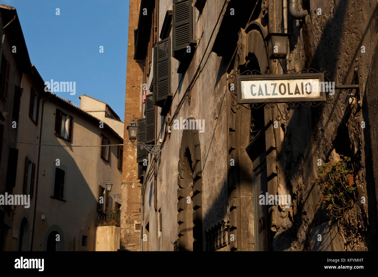 In the Medieval section of Orvieto, Italy a sign designates the shoemaker shop. - Stock Image